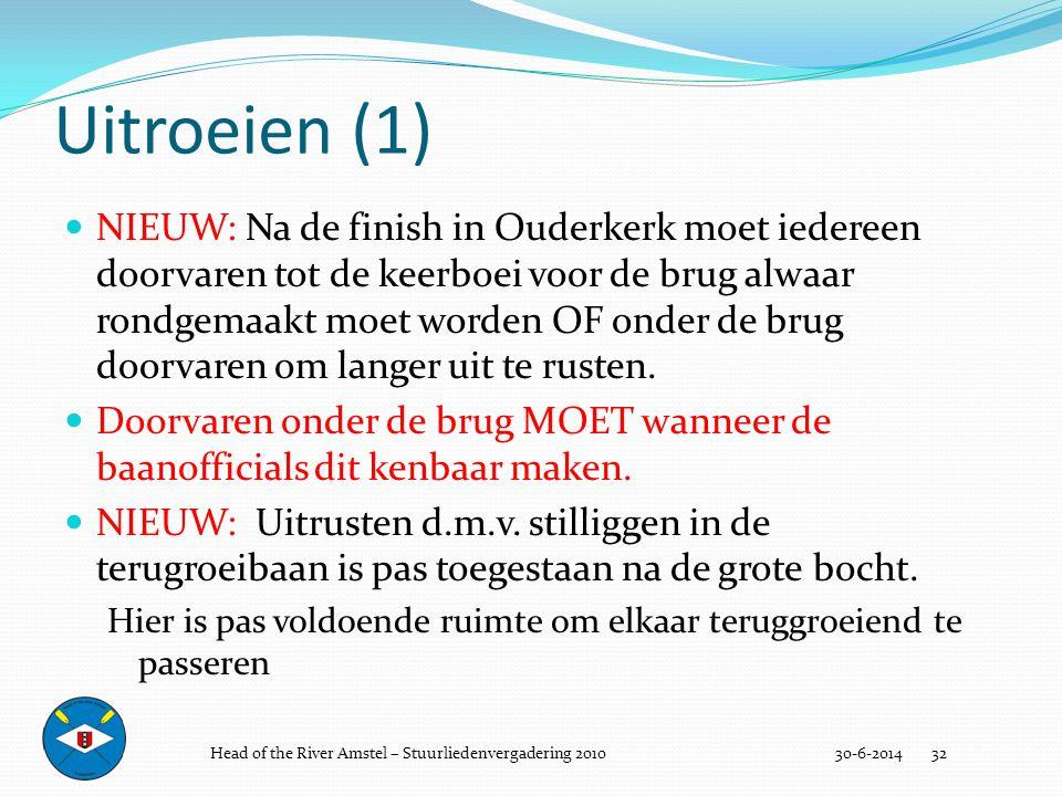 Uitroeien (1) 30-6-2014 32  NIEUW: Na de finish in Ouderkerk moet iedereen doorvaren tot de keerboei voor de brug alwaar rondgemaakt moet worden OF o