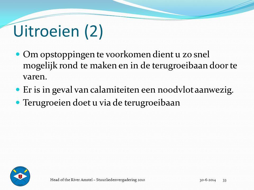 Uitroeien (2) 30-6-2014 33  Om opstoppingen te voorkomen dient u zo snel mogelijk rond te maken en in de terugroeibaan door te varen.  Er is in geva