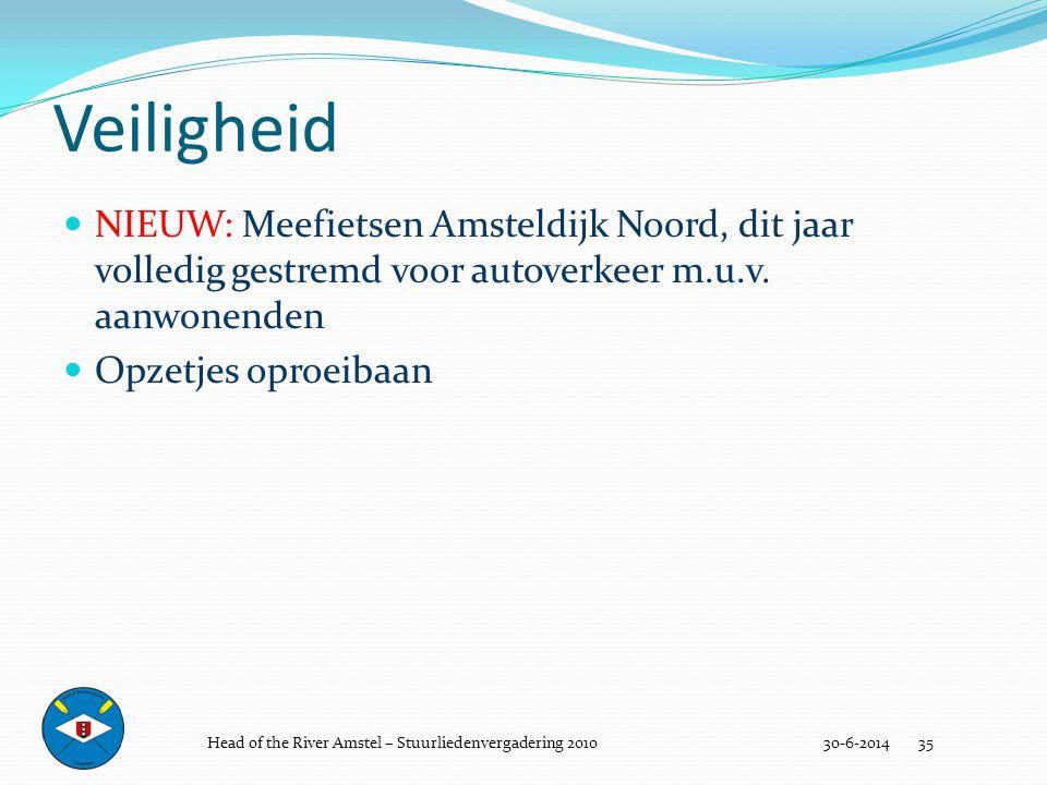 Veiligheid 30-6-2014 35  NIEUW: Meefietsen Amsteldijk Noord, dit jaar volledig gestremd voor autoverkeer m.u.v. aanwonenden  Opzetjes oproeibaan Hea