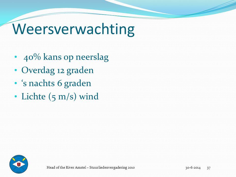 • 40% kans op neerslag • Overdag 12 graden • 's nachts 6 graden • Lichte (5 m/s) wind Weersverwachting 30-6-2014 37Head of the River Amstel – Stuurlie