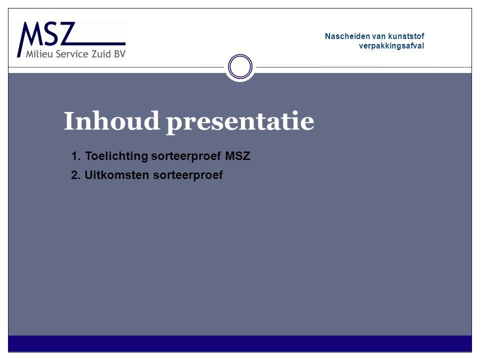 Inhoud presentatie 1. Toelichting sorteerproef MSZ 2. Uitkomsten sorteerproef Nascheiden van kunststof verpakkingsafval