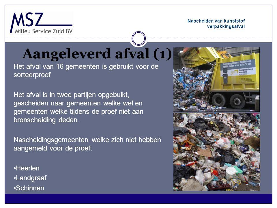 Aangeleverd afval (1) Nascheiden van kunststof verpakkingsafval Het afval van 16 gemeenten is gebruikt voor de sorteerproef Het afval is in twee parti