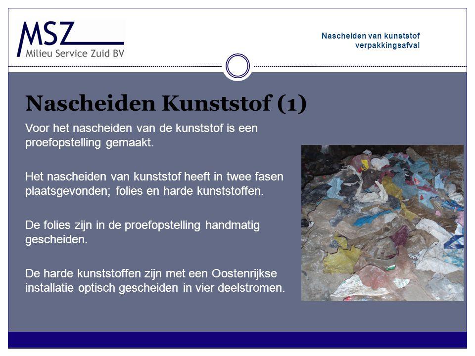 Nascheiden Kunststof (1) Nascheiden van kunststof verpakkingsafval Voor het nascheiden van de kunststof is een proefopstelling gemaakt. Het nascheiden
