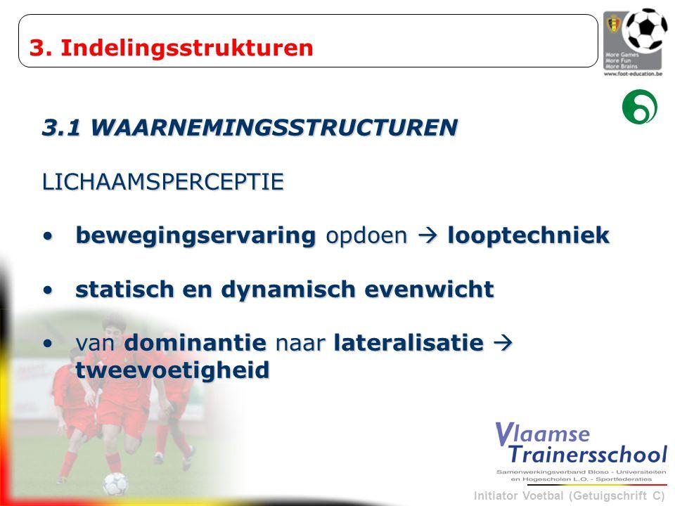 Initiator Voetbal (Getuigschrift C) 3.1 WAARNEMINGSSTRUCTUREN LICHAAMSPERCEPTIE •bewegingservaring opdoen  looptechniek •statisch en dynamisch evenwi