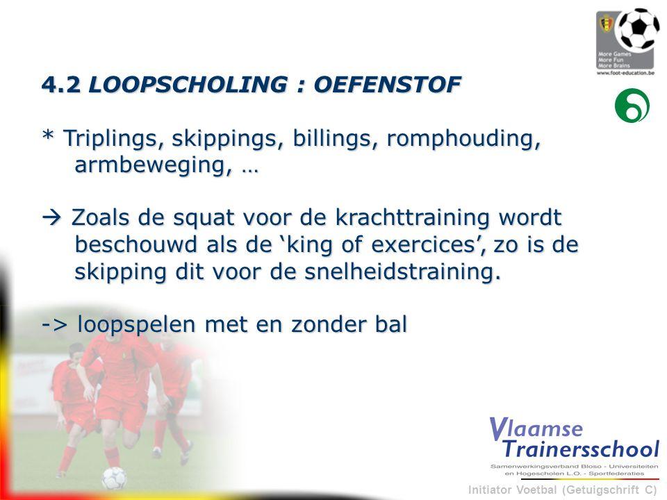 Initiator Voetbal (Getuigschrift C) 4.2 LOOPSCHOLING : OEFENSTOF * Triplings, skippings, billings, romphouding, armbeweging, …  Zoals de squat voor d