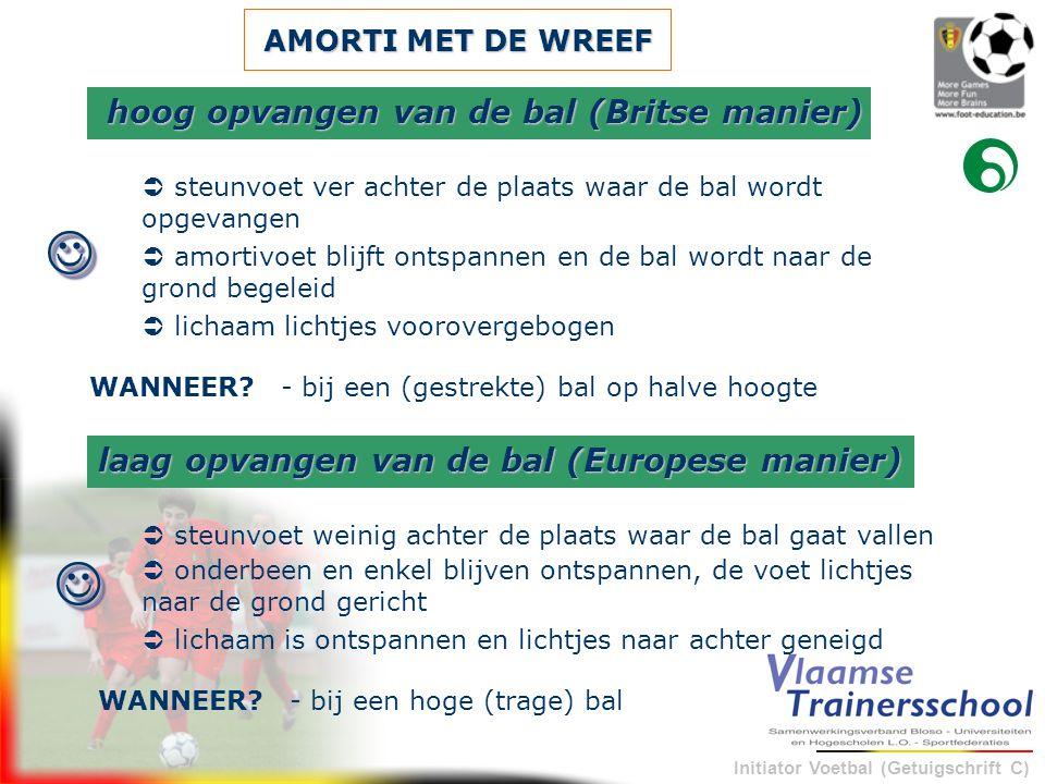 Initiator Voetbal (Getuigschrift C) AMORTI MET DE WREEF  steunvoet ver achter de plaats waar de bal wordt opgevangen - bij een (gestrekte) bal op hal