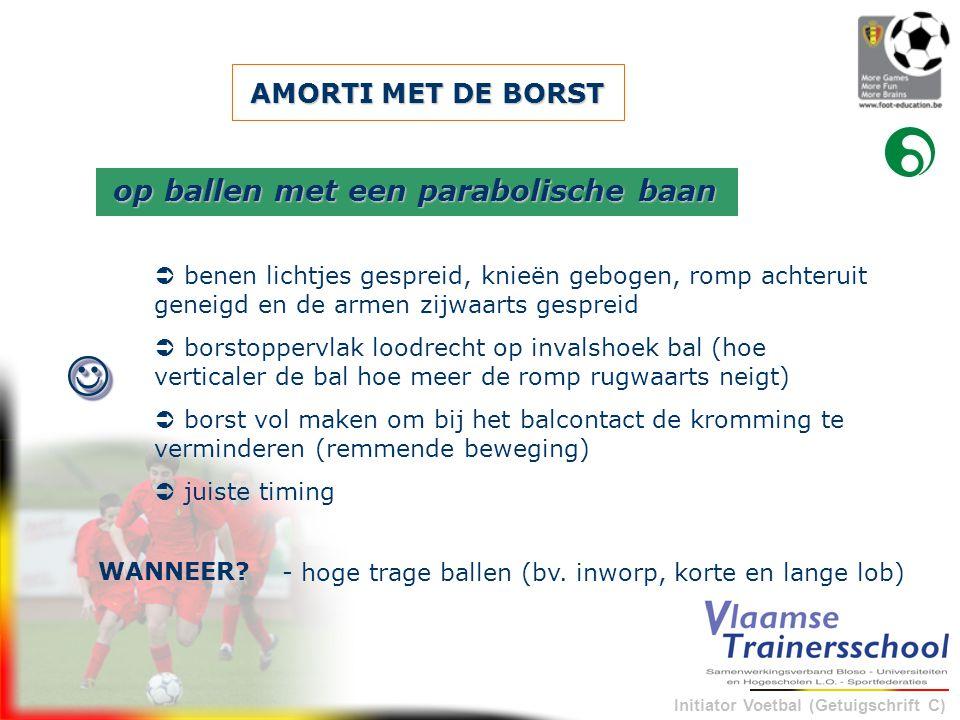 Initiator Voetbal (Getuigschrift C) AMORTI MET DE BORST  benen lichtjes gespreid, knieën gebogen, romp achteruit geneigd en de armen zijwaarts gespre
