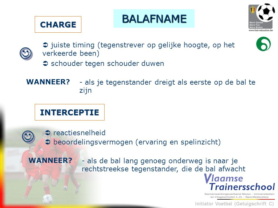 Initiator Voetbal (Getuigschrift C) CHARGE  schouder tegen schouder duwen - als je tegenstander dreigt als eerste op de bal te zijn WANNEER?  BALAF