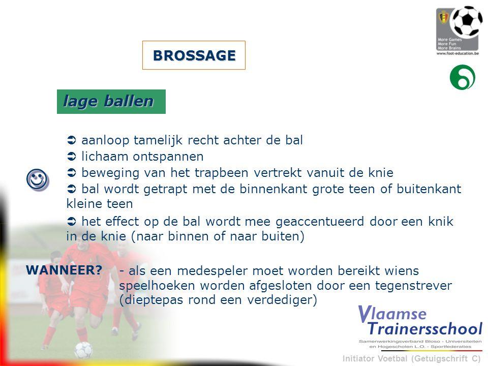 Initiator Voetbal (Getuigschrift C) BROSSAGE - als een medespeler moet worden bereikt wiens speelhoeken worden afgesloten door een tegenstrever (diept