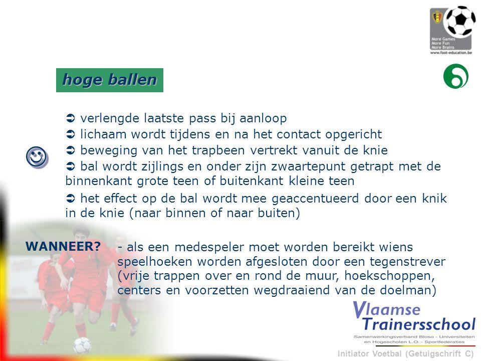Initiator Voetbal (Getuigschrift C) - als een medespeler moet worden bereikt wiens speelhoeken worden afgesloten door een tegenstrever (vrije trappen