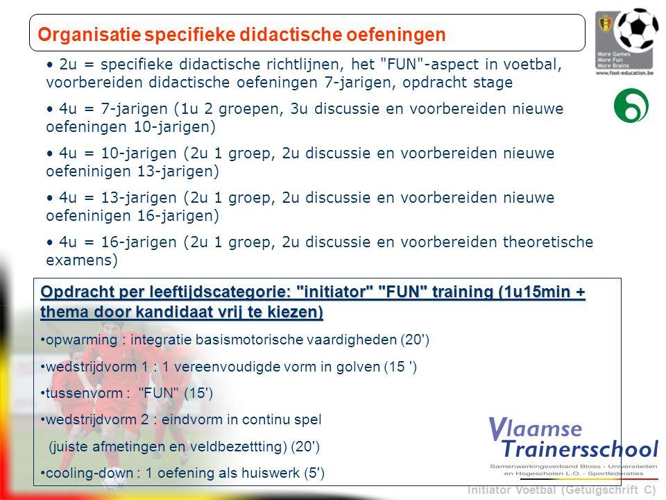 Initiator Voetbal (Getuigschrift C) Organisatie specifieke didactische oefeningen • 2u = specifieke didactische richtlijnen, het