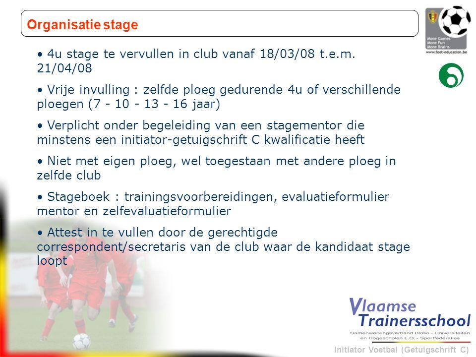 Initiator Voetbal (Getuigschrift C) Organisatie stage • 4u stage te vervullen in club vanaf 18/03/08 t.e.m. 21/04/08 • Vrije invulling : zelfde ploeg