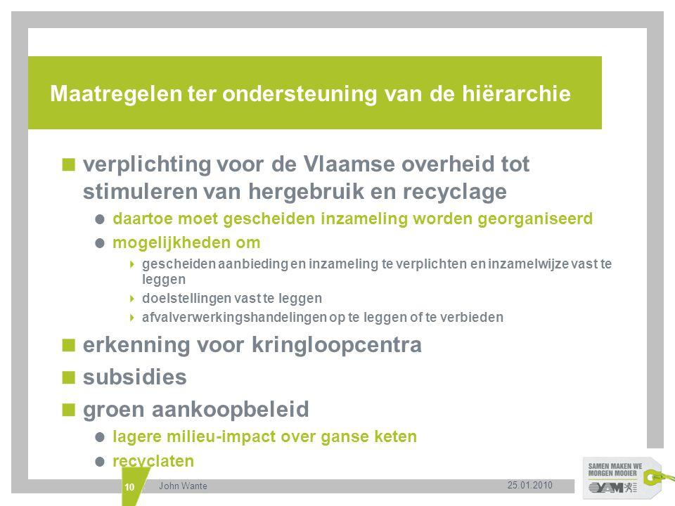 25.01.2010 John Wante 10 Maatregelen ter ondersteuning van de hiërarchie  verplichting voor de Vlaamse overheid tot stimuleren van hergebruik en recy