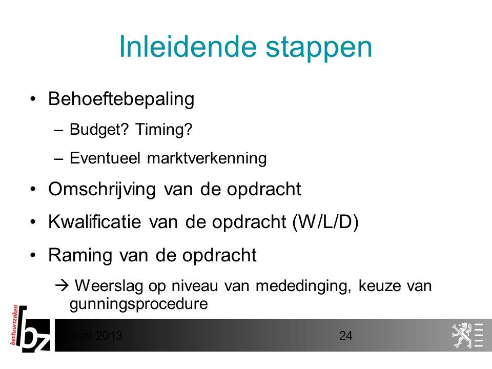 8 juni 201324 Inleidende stappen •Behoeftebepaling –Budget? Timing? –Eventueel marktverkenning •Omschrijving van de opdracht •Kwalificatie van de opdr