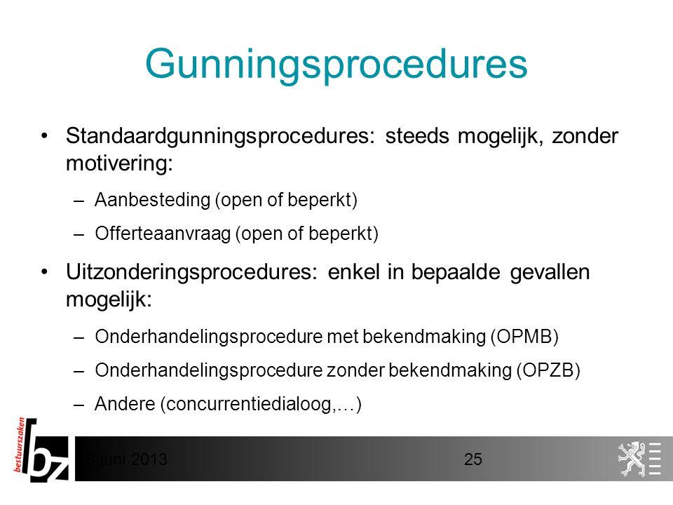8 juni 201325 Gunningsprocedures •Standaardgunningsprocedures: steeds mogelijk, zonder motivering: –Aanbesteding (open of beperkt) –Offerteaanvraag (open of beperkt) •Uitzonderingsprocedures: enkel in bepaalde gevallen mogelijk: –Onderhandelingsprocedure met bekendmaking (OPMB) –Onderhandelingsprocedure zonder bekendmaking (OPZB) –Andere (concurrentiedialoog,…)