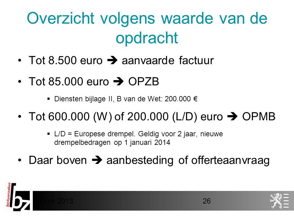 8 juni 201326 Overzicht volgens waarde van de opdracht •Tot 8.500 euro  aanvaarde factuur •Tot 85.000 euro  OPZB  Diensten bijlage II, B van de Wet: 200.000 € •Tot 600.000 (W) of 200.000 (L/D) euro  OPMB  L/D = Europese drempel.