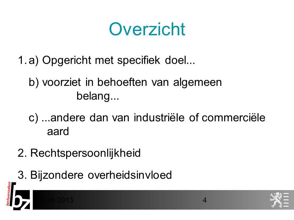 8 juni 20134 Overzicht 1.a) Opgericht met specifiek doel... b) voorziet in behoeften van algemeen belang... c)...andere dan van industriële of commerc