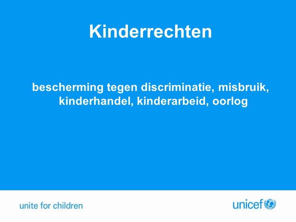 Kinderrechten bescherming tegen discriminatie, misbruik, kinderhandel, kinderarbeid, oorlog