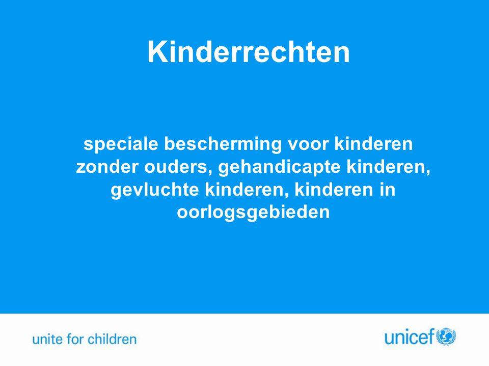 Kinderrechten speciale bescherming voor kinderen zonder ouders, gehandicapte kinderen, gevluchte kinderen, kinderen in oorlogsgebieden