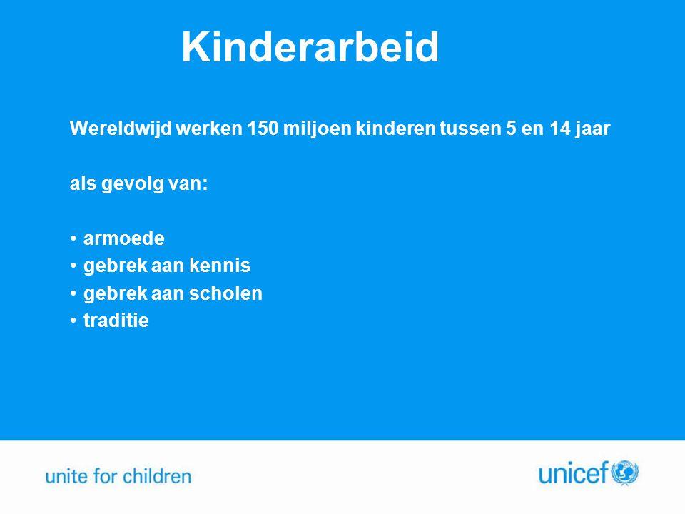 Kinderarbeid Wereldwijd werken 150 miljoen kinderen tussen 5 en 14 jaar als gevolg van: •armoede •gebrek aan kennis •gebrek aan scholen •traditie