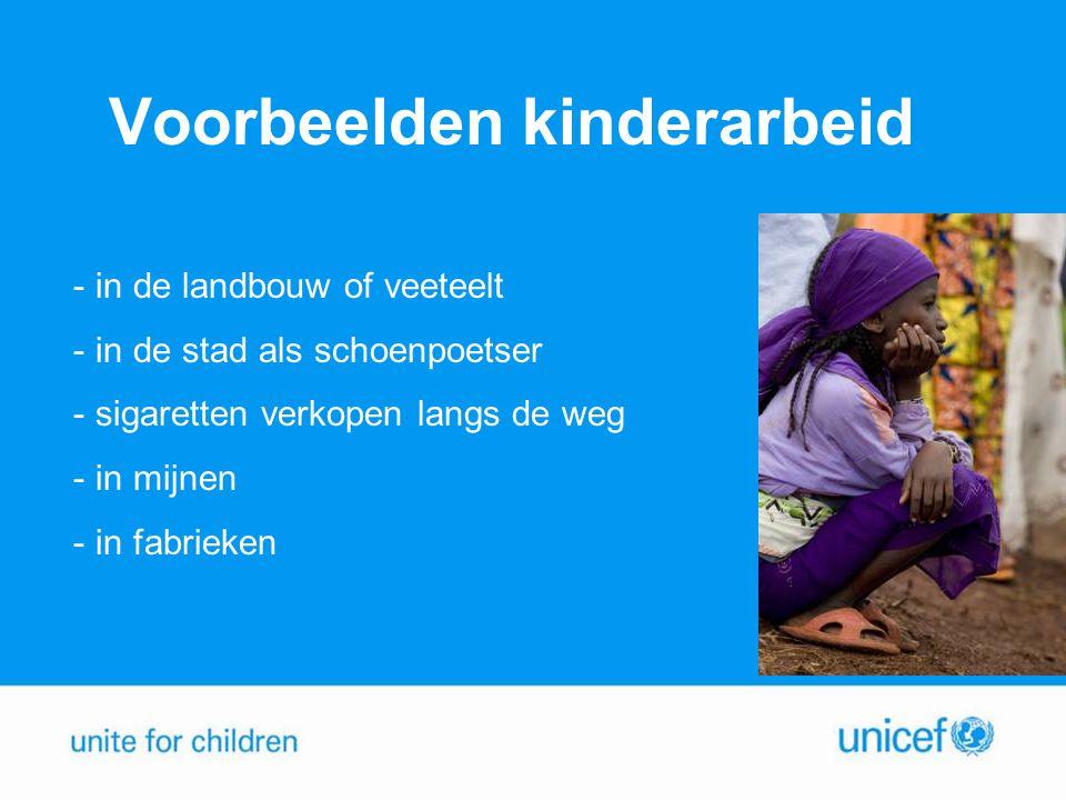 Voorbeelden kinderarbeid - in de landbouw of veeteelt - in de stad als schoenpoetser - sigaretten verkopen langs de weg - in mijnen - in fabrieken