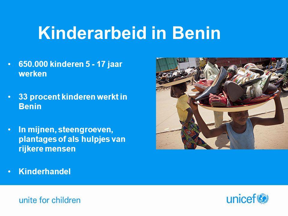 Kinderarbeid in Benin •650.000 kinderen 5 - 17 jaar werken •33 procent kinderen werkt in Benin •In mijnen, steengroeven, plantages of als hulpjes van