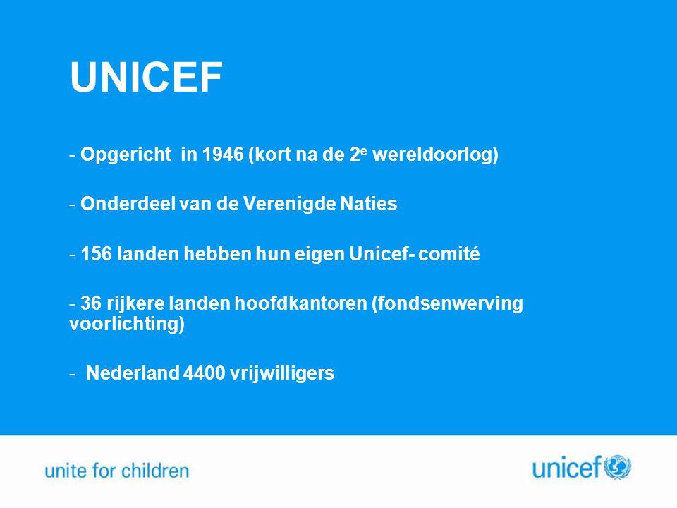 UNICEF - Opgericht in 1946 (kort na de 2 e wereldoorlog) - Onderdeel van de Verenigde Naties - 156 landen hebben hun eigen Unicef- comité - 36 rijkere