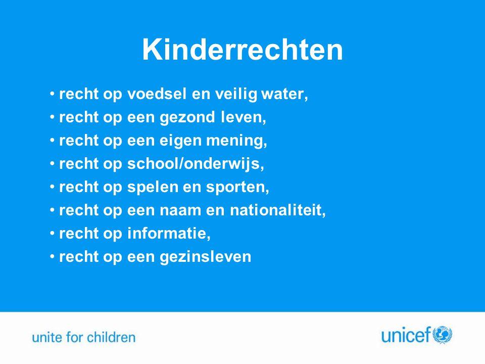 Kinderrechten •recht op voedsel en veilig water, •recht op een gezond leven, •recht op een eigen mening, •recht op school/onderwijs, •recht op spelen