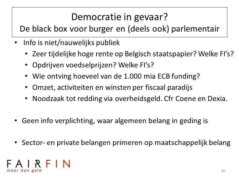 Democratie in gevaar? De black box voor burger en (deels ook) parlementair • Info is niet/nauwelijks publiek • Zeer tijdelijke hoge rente op Belgisch