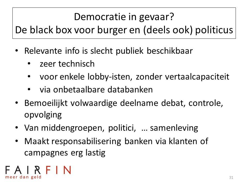 Democratie in gevaar? De black box voor burger en (deels ook) politicus • Relevante info is slecht publiek beschikbaar • zeer technisch • voor enkele