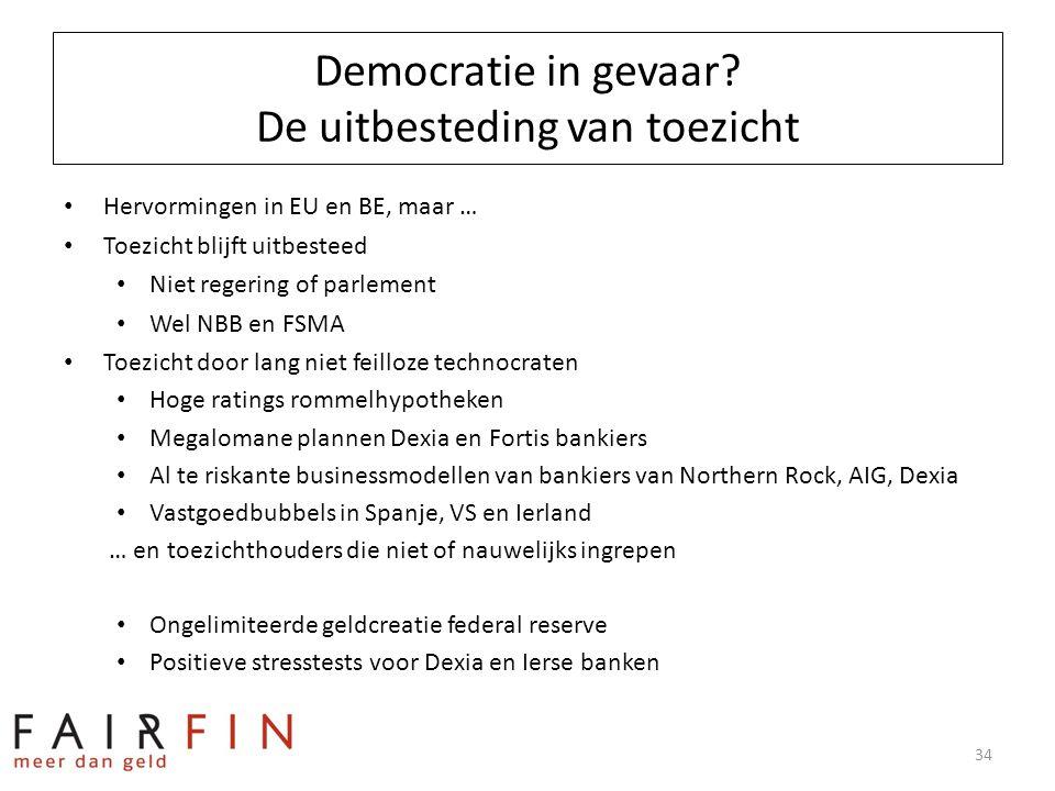 Democratie in gevaar? De uitbesteding van toezicht • Hervormingen in EU en BE, maar … • Toezicht blijft uitbesteed • Niet regering of parlement • Wel