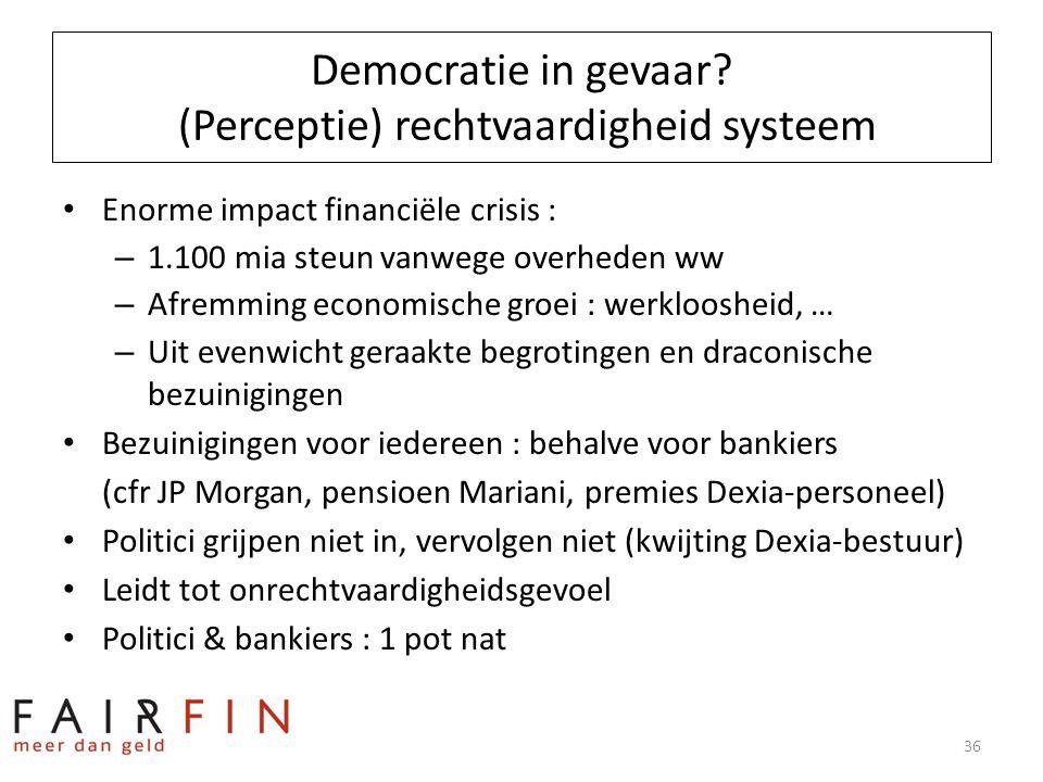 Democratie in gevaar? (Perceptie) rechtvaardigheid systeem • Enorme impact financiële crisis : – 1.100 mia steun vanwege overheden ww – Afremming econ