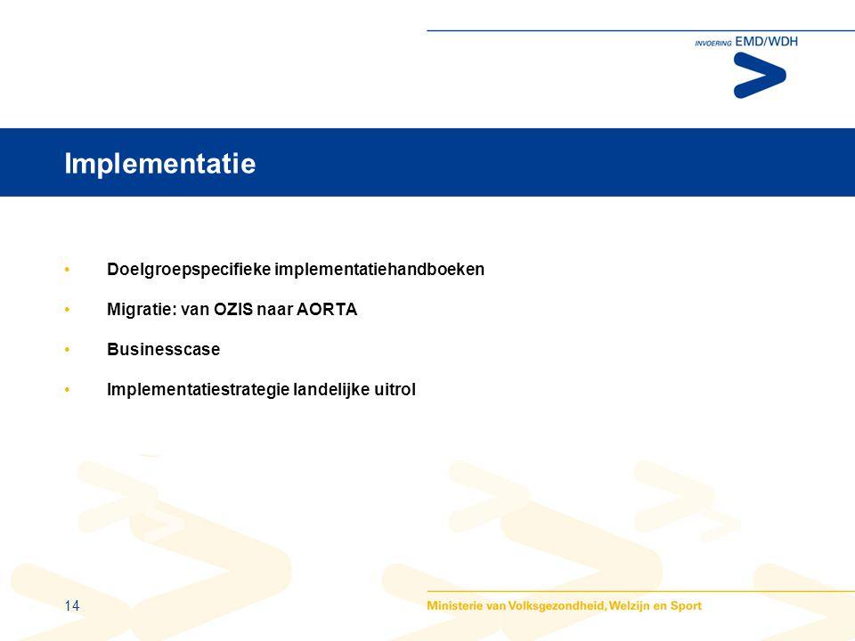 14 Implementatie •Doelgroepspecifieke implementatiehandboeken •Migratie: van OZIS naar AORTA •Businesscase •Implementatiestrategie landelijke uitrol