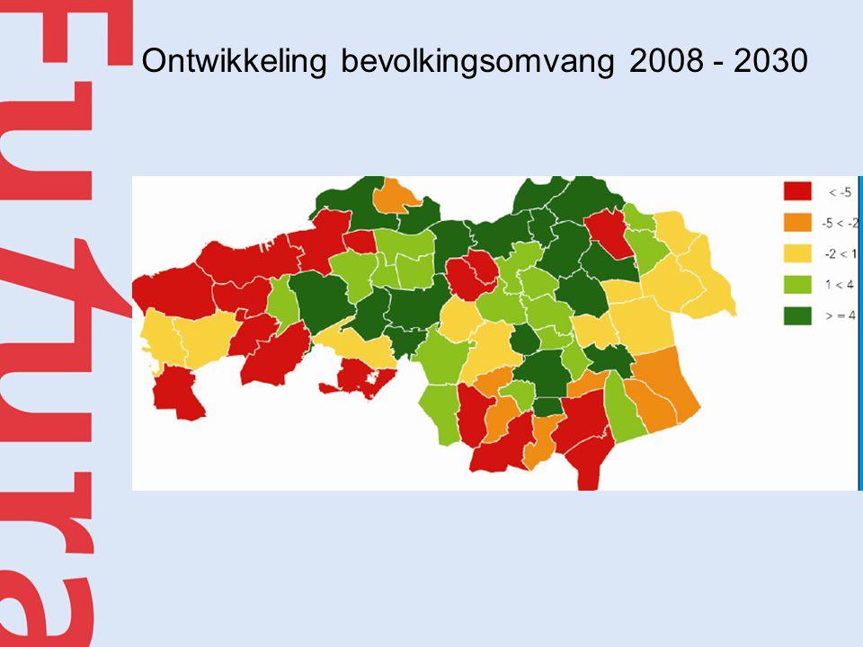 Ontwikkeling bevolkingsomvang 2008 - 2030