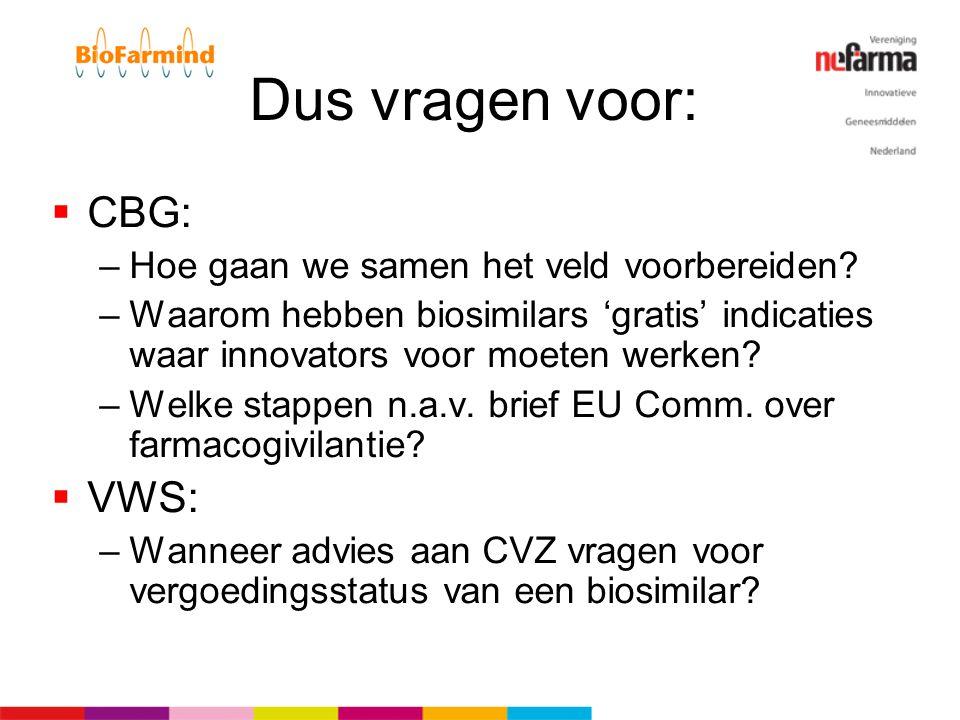 Dus vragen voor:  CBG: –Hoe gaan we samen het veld voorbereiden? –Waarom hebben biosimilars 'gratis' indicaties waar innovators voor moeten werken? –