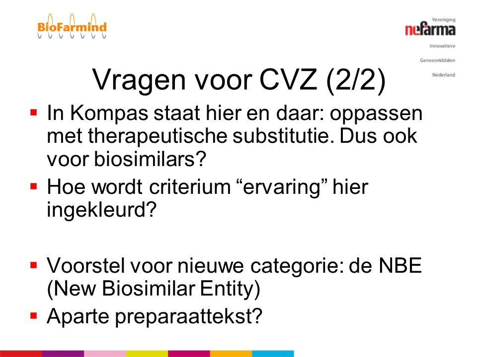 """Vragen voor CVZ (2/2)  In Kompas staat hier en daar: oppassen met therapeutische substitutie. Dus ook voor biosimilars?  Hoe wordt criterium """"ervari"""