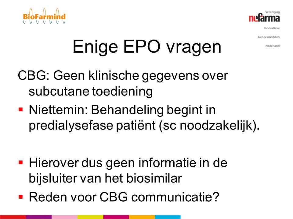 Enige EPO vragen CBG: Geen klinische gegevens over subcutane toediening  Niettemin: Behandeling begint in predialysefase patiënt (sc noodzakelijk). 
