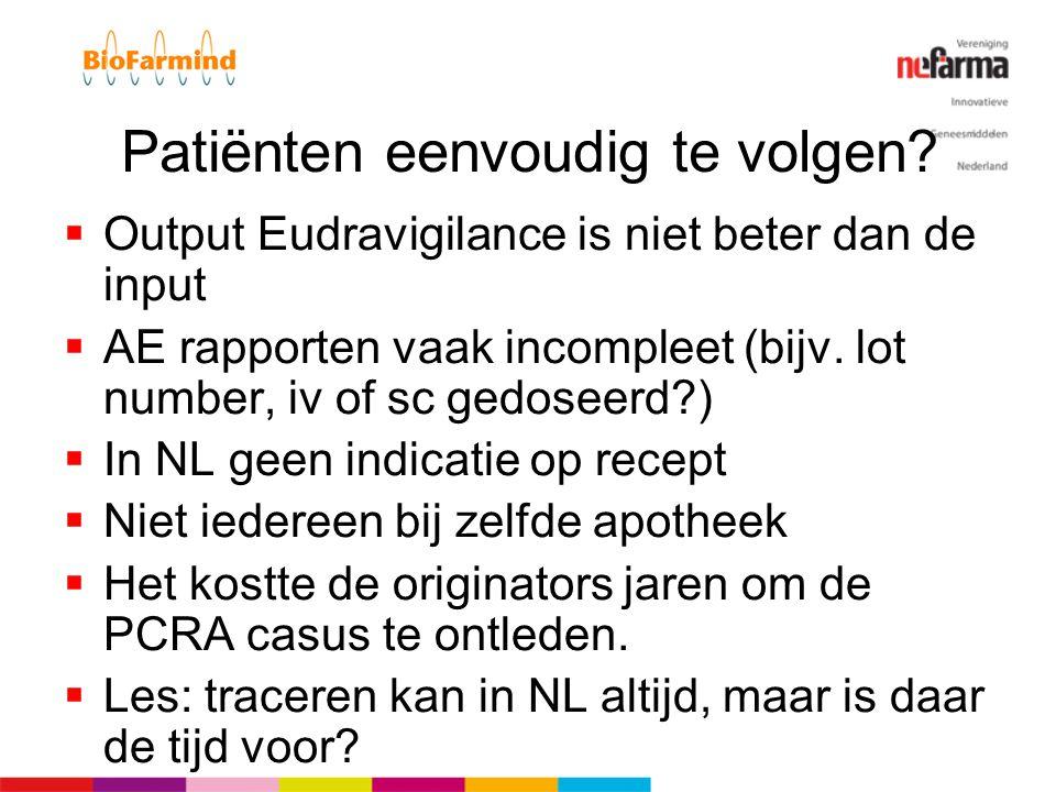 Patiënten eenvoudig te volgen?  Output Eudravigilance is niet beter dan de input  AE rapporten vaak incompleet (bijv. lot number, iv of sc gedoseerd
