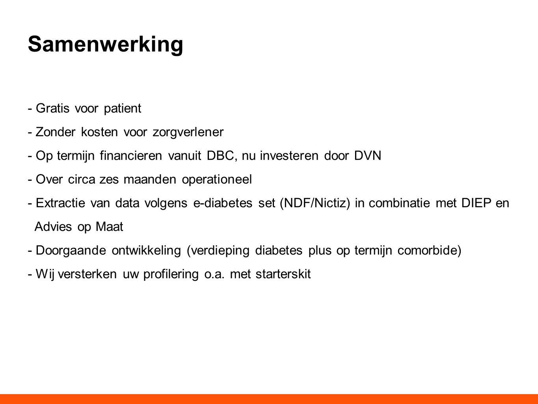 Samenwerking - Gratis voor patient - Zonder kosten voor zorgverlener - Op termijn financieren vanuit DBC, nu investeren door DVN - Over circa zes maan