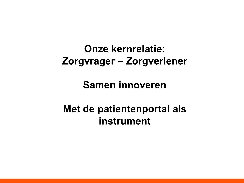 Onze kernrelatie: Zorgvrager – Zorgverlener Samen innoveren Met de patientenportal als instrument