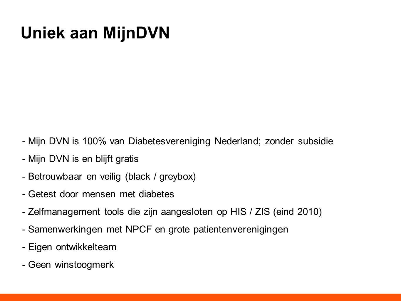 Uniek aan MijnDVN - Mijn DVN is 100% van Diabetesvereniging Nederland; zonder subsidie - Mijn DVN is en blijft gratis - Betrouwbaar en veilig (black /
