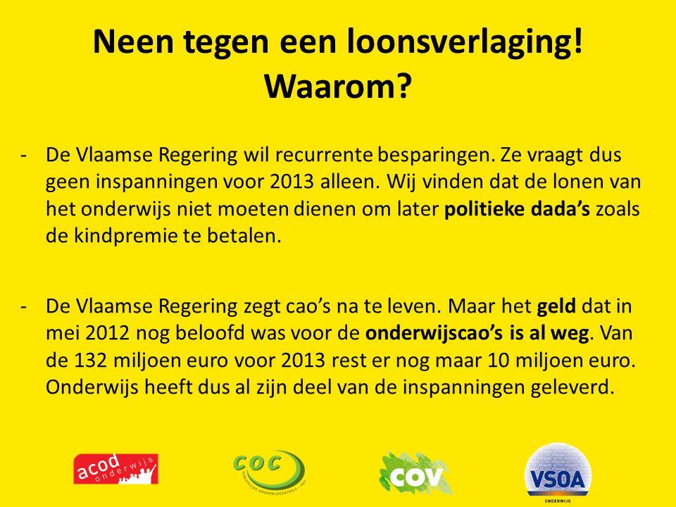 Neen tegen een loonsverlaging.Waarom. -De Vlaamse Regering wil recurrente besparingen.