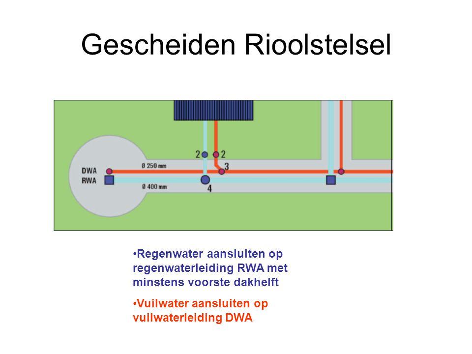 Gescheiden Rioolstelsel •Regenwater aansluiten op regenwaterleiding RWA met minstens voorste dakhelft •Vuilwater aansluiten op vuilwaterleiding DWA