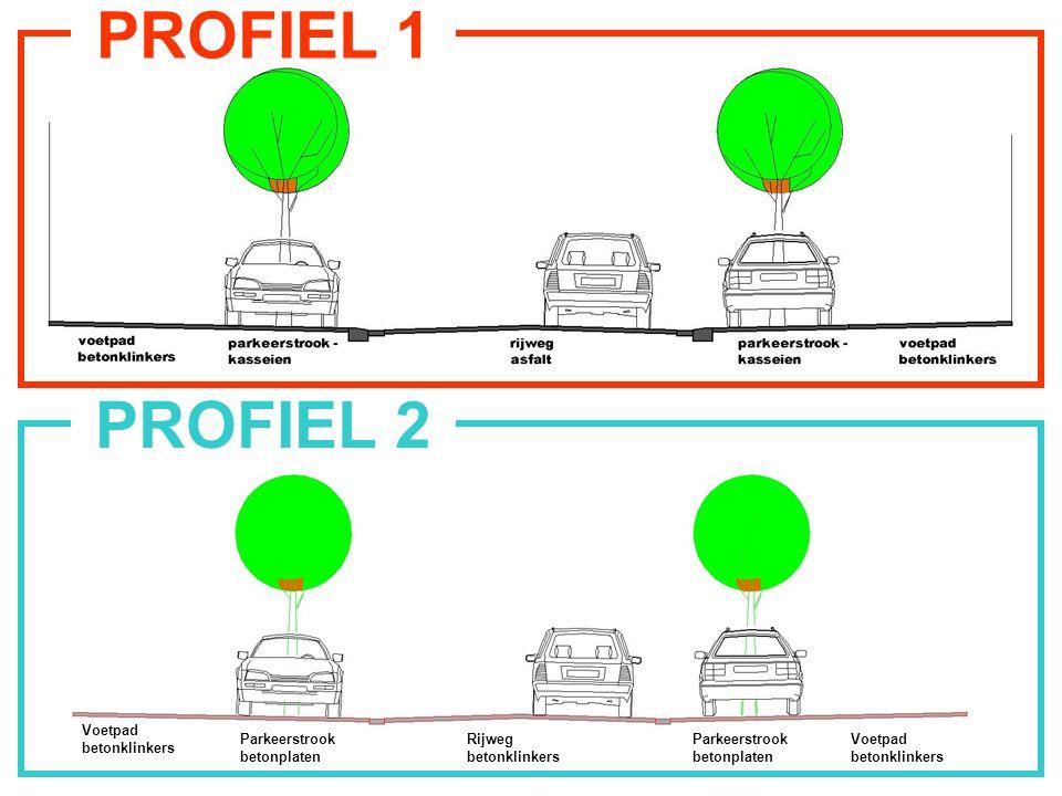 PROFIEL 1a Rijweg in asfalt Parkeerstrook in kasseien Voetpad in betonklinkers Parkeerstrook in kasseien