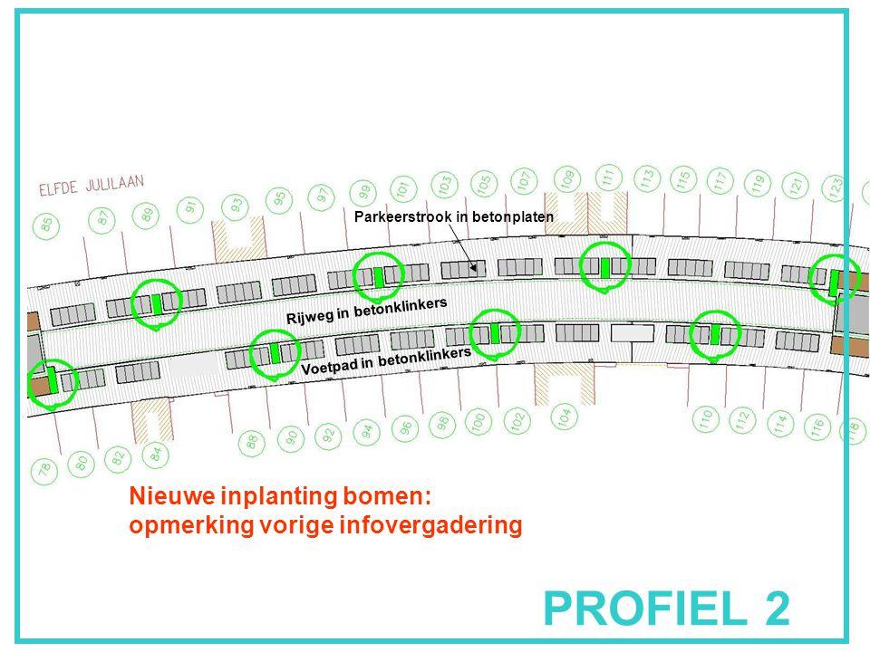PROFIEL 2 Rijweg in betonklinkers Parkeerstrook in betonplaten Voetpad in betonklinkers Nieuwe inplanting bomen: opmerking vorige infovergadering