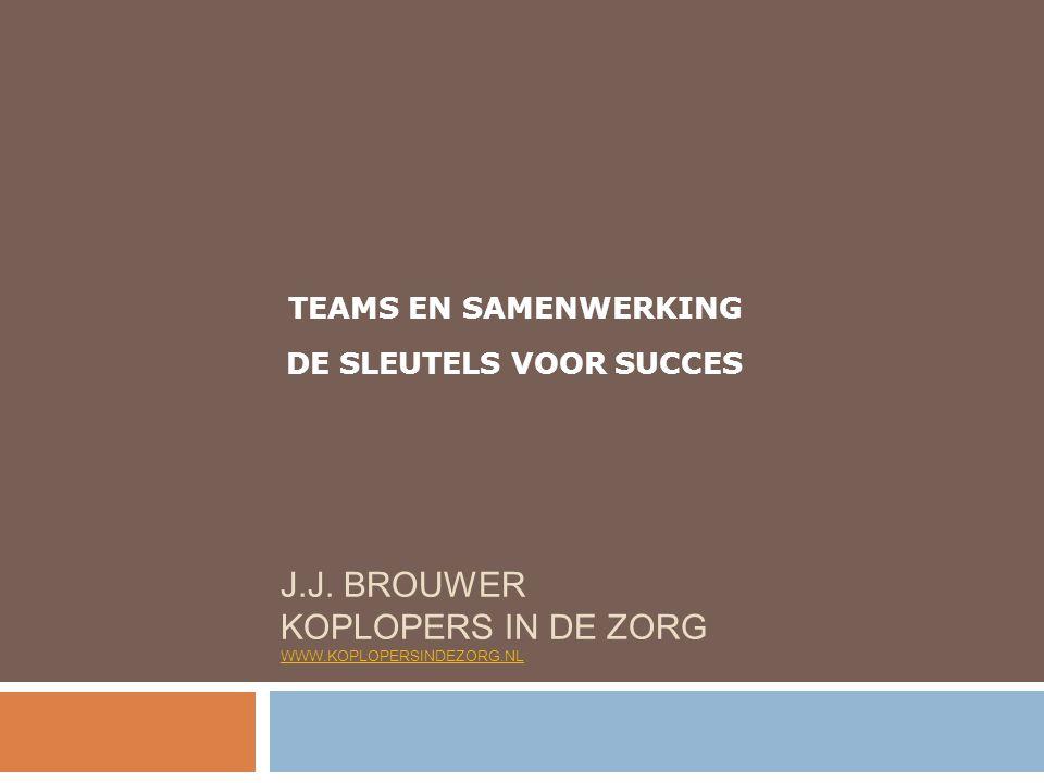 TEAMS EN SAMENWERKING DE SLEUTELS VOOR SUCCES J.J. BROUWER KOPLOPERS IN DE ZORG WWW.KOPLOPERSINDEZORG.NL WWW.KOPLOPERSINDEZORG.NL
