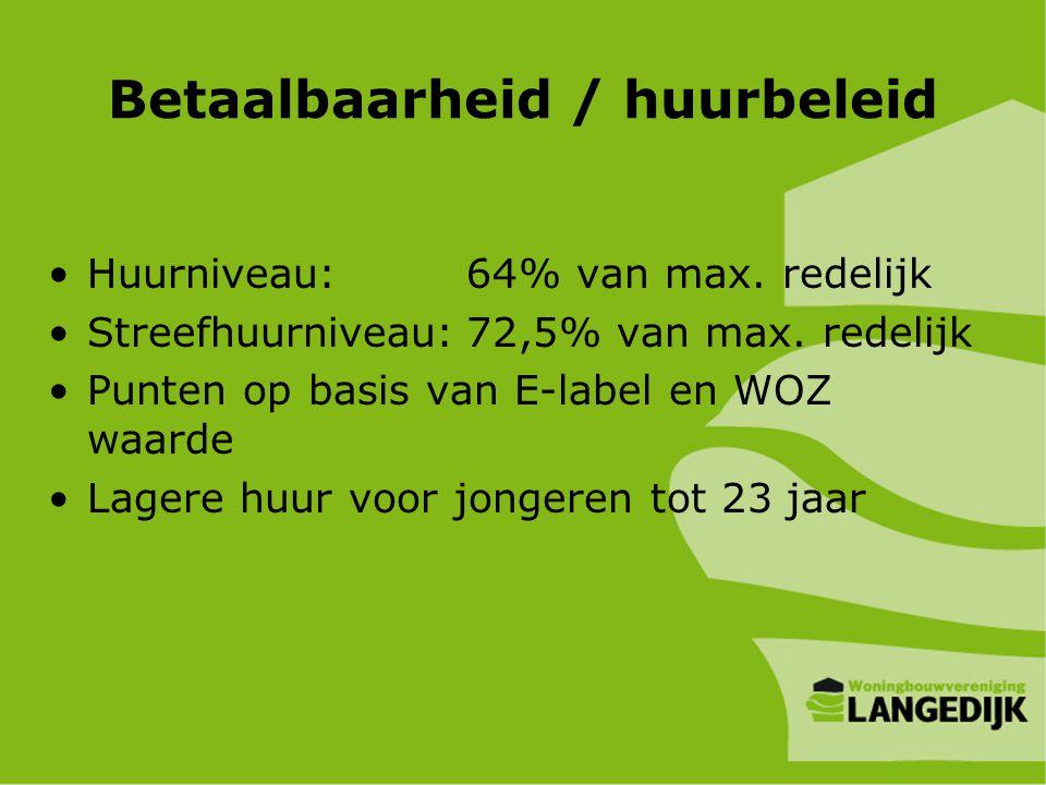 Betaalbaarheid / huurbeleid •Huurniveau:64% van max. redelijk •Streefhuurniveau:72,5% van max. redelijk •Punten op basis van E-label en WOZ waarde •La