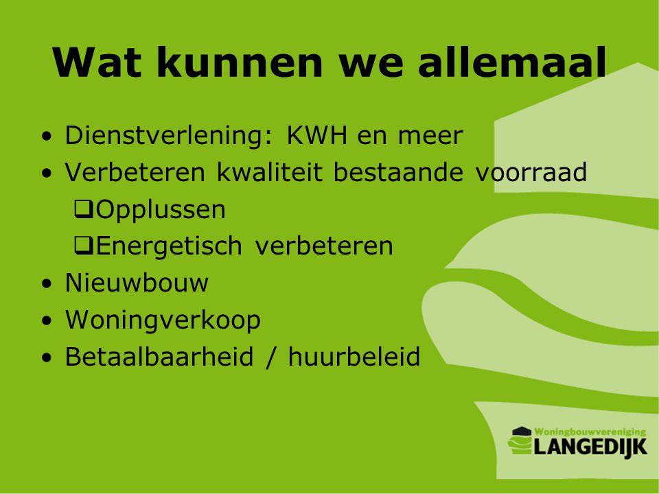 Wat kunnen we allemaal •Dienstverlening: KWH en meer •Verbeteren kwaliteit bestaande voorraad  Opplussen  Energetisch verbeteren •Nieuwbouw •Woningv