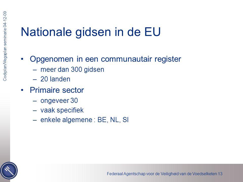 Federaal Agentschap voor de Veiligheid van de Voedselketen 13 Codiplan/Vegaplan seminarie 04-12-09 Nationale gidsen in de EU •Opgenomen in een communa