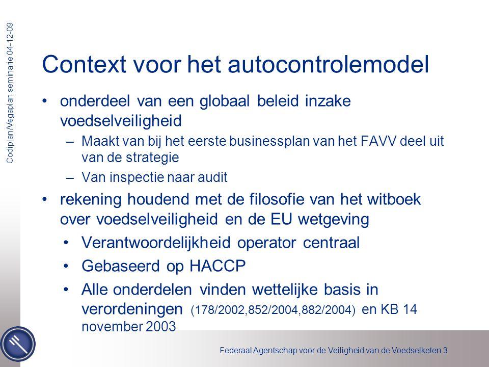Federaal Agentschap voor de Veiligheid van de Voedselketen 3 Codiplan/Vegaplan seminarie 04-12-09 Context voor het autocontrolemodel •onderdeel van ee